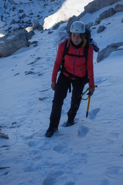 Leonie walking with ice axe (Brenta Dolomites)