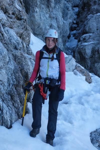 Leonie with her ice axe (Brenta Dolomites)