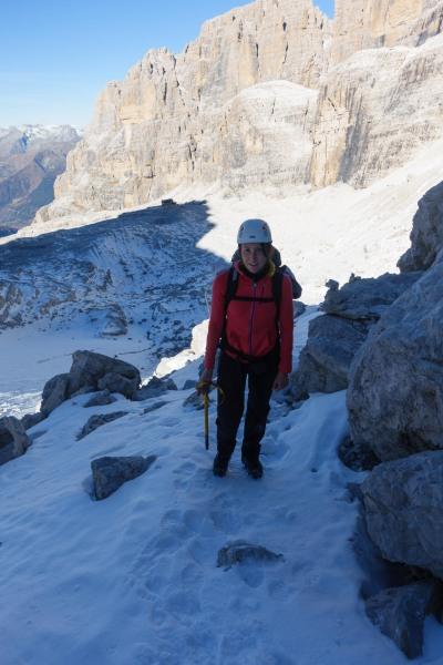 Leonie with ice axe (Brenta Dolomites)