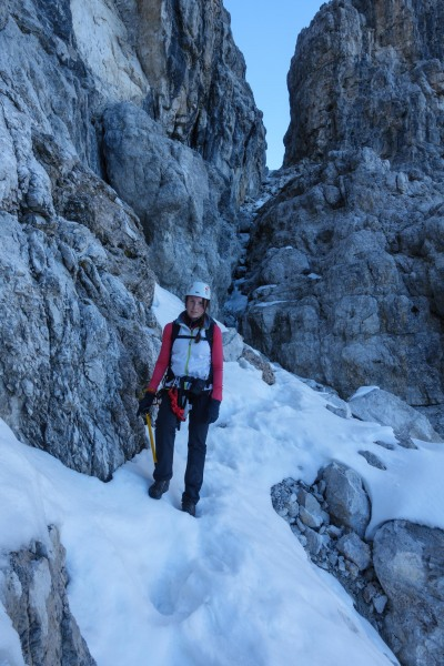 Leonie with ice axe in hand (Brenta Dolomites)