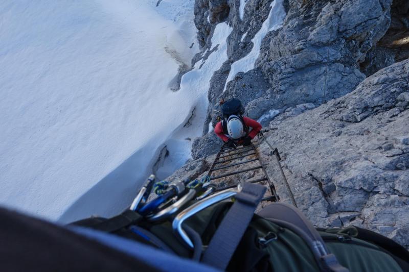 Looking down to Leonie (Brenta Dolomites)