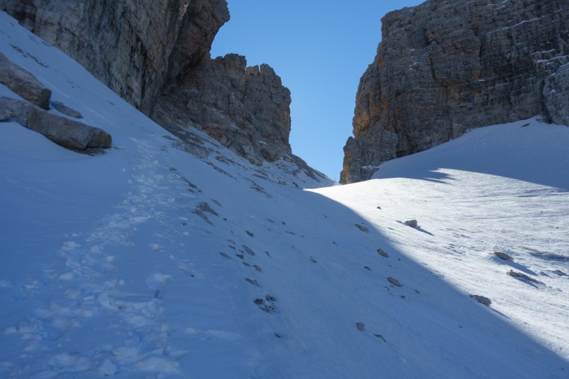 Looking up to the pass (Brenta Dolomites)