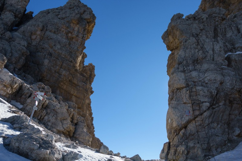 The ladders begin (Brenta Dolomites)