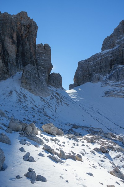 View towards the start of the via ferrata (Brenta Dolomites)
