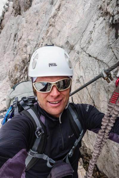 Cris on the second klettersteig (Zugspitze July 2018)