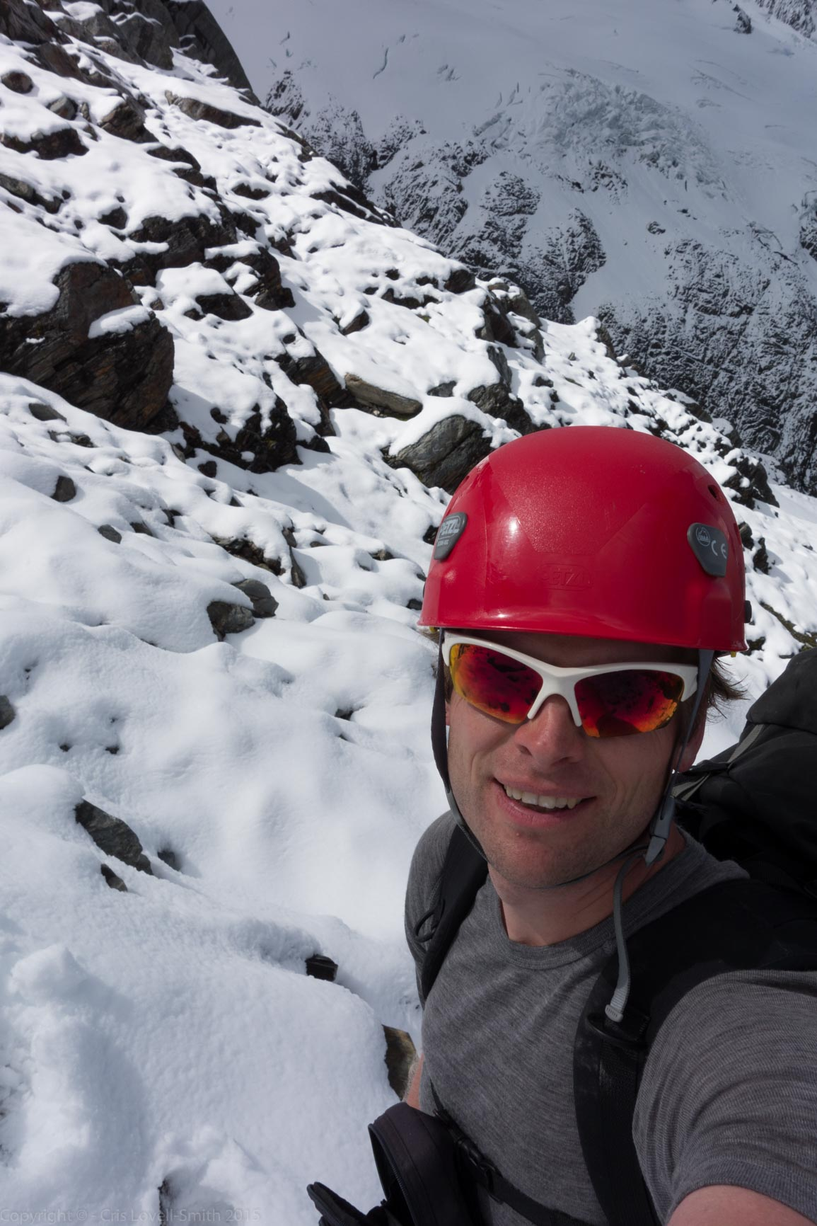 Cris amongst snow and rock (Hopkins Valley Tramp Jan 2015)