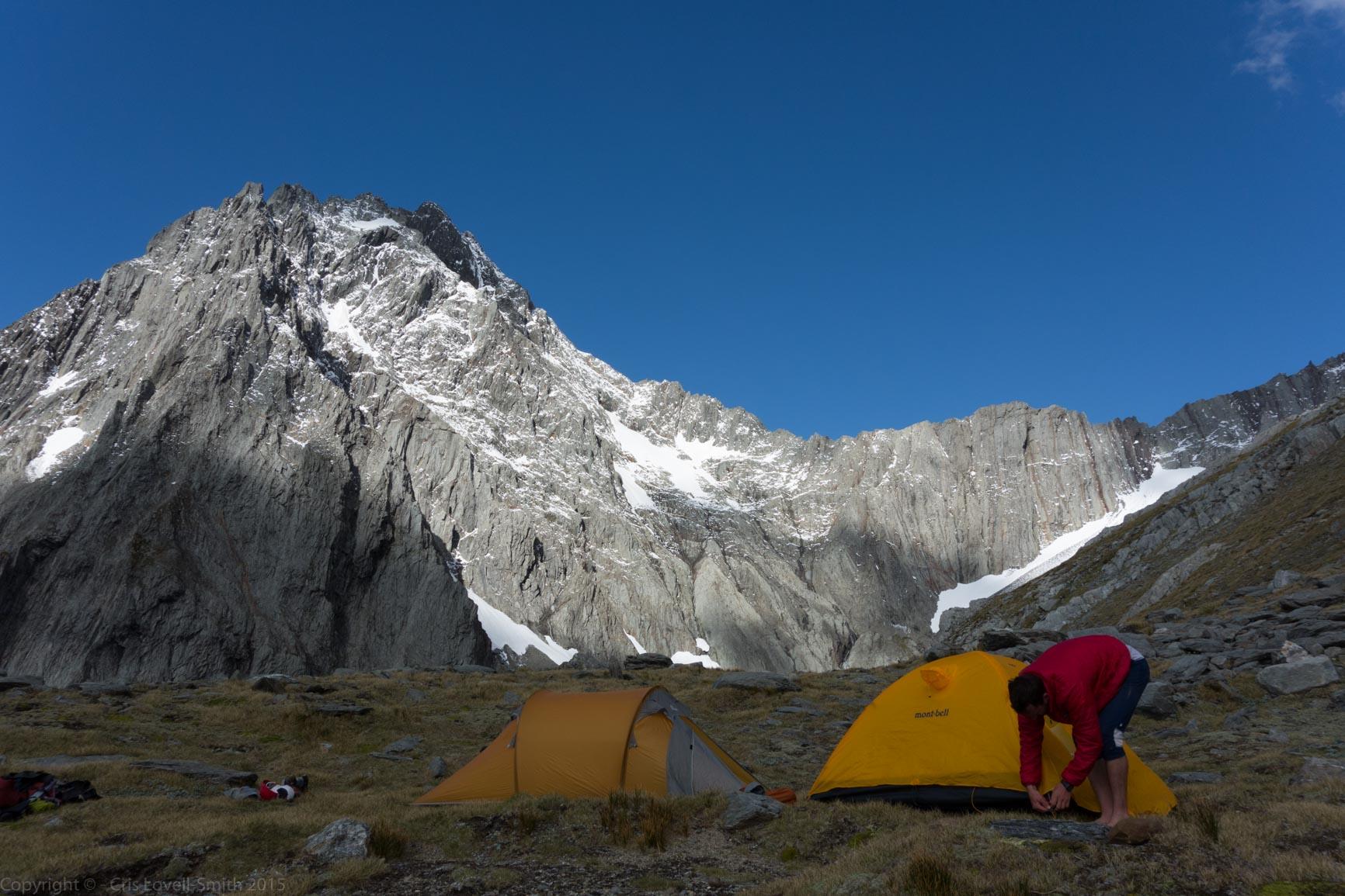 Tents infront of Mt Trent 2 (Hopkins Valley Tramp Jan 2015)