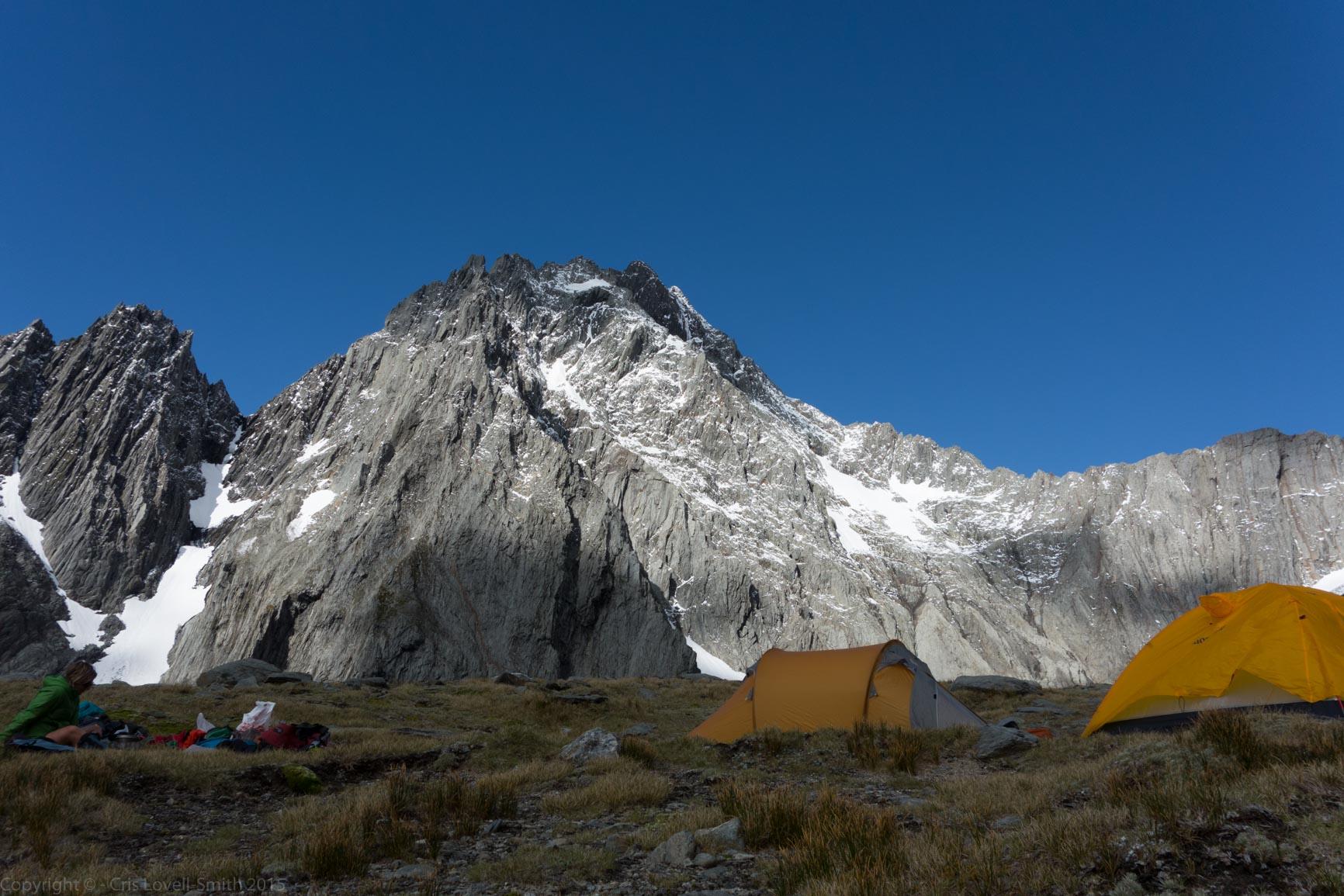 Tents infront of Mt Trent (Hopkins Valley Tramp Jan 2015)