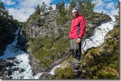 Cris and waterfall 2 (Cycle Touring Norway 2016)
