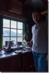 Cris in a hut (Cycle Touring Norway 2016)