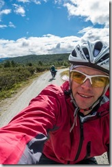 Cycling with blue sky (Cycle Touring Norway 2016)