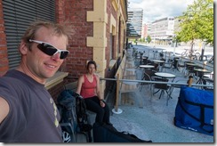 Waiting at the train station in Lillehammer (Cycle Touring Norway 2016)