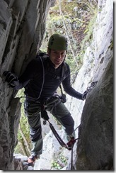 Climbing through the hole (Indianer Klettersteig Oct 2016)