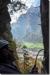 Leonie looks up (Indianer Klettersteig Oct 2016)