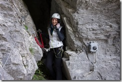 Leonie staying connected (Indianer Klettersteig Oct 2016)