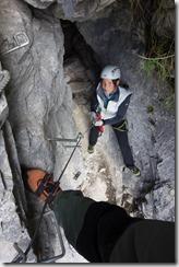 Leonie waiting below (Indianer Klettersteig Oct 2016)