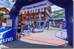 Leonie at the finish (LGT Marathon)