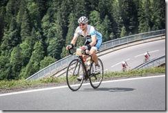 Cris climbing Hochtannberg Pass (Tannheimer Tal Radmarathon)