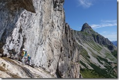 Climbing near the start (Saulakopf Klettersteig)