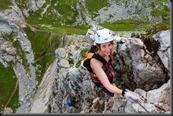 Leonie climbing (Karhorn Klettersteig)