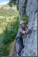 Leonie on a klettersteig after the race (Humani Trail 2018)