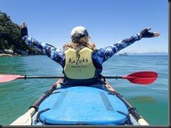 Happy Katie kayaking (Seakayaking Abel Tasman NP)