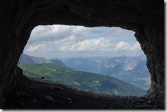 View out from the cave (Klettersteig Gauerblickhöhle)