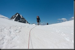 Blue sky and glacier travel at Rangitata Col (Mountain rafting Dec 2018)