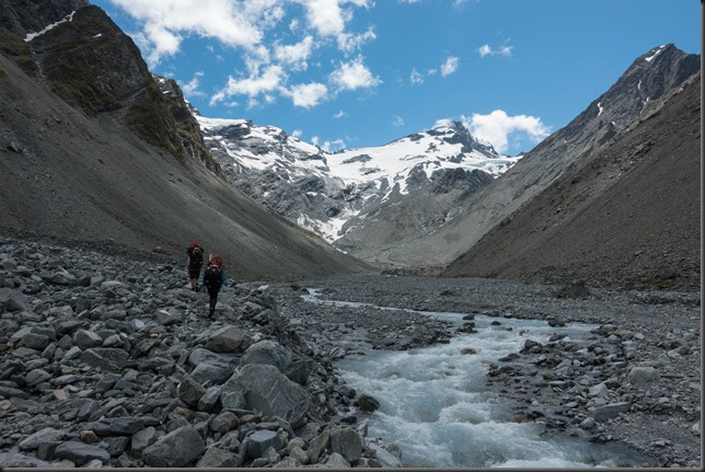 Blue sky heading up the valley towards the Havelock Glacier (Mountain Rafting Dec 2018)