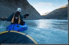 Heading across the Lyell Glacier terminal lake (Mountain rafting Dec 2018)