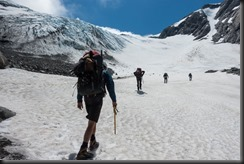 Walking up the Frances Glacier (Mountain Rafting Dec 2018