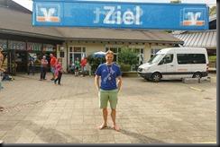 Cris at the finish line (Schwarzwald Ultramarathon Oct 2018)