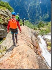 Heading down to the first abseil (Canyoning Italy 2019)