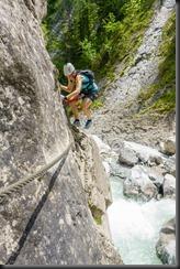 Leonie climbing (Pirknerklamm Klettersteig)