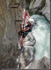 Leonie climbing up (Pirknerklamm Klettersteig)