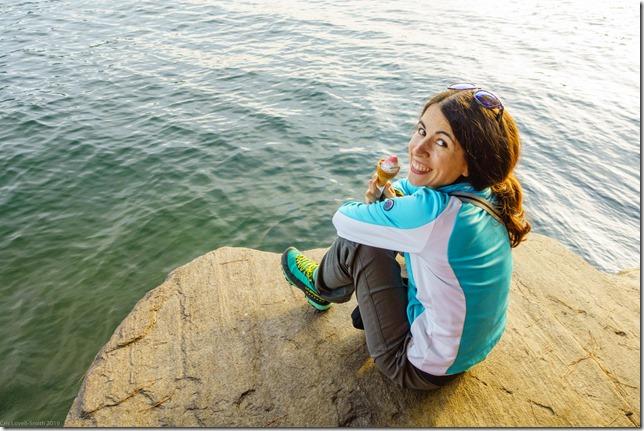 Ari at the lake again (Climbing in Ticino Oct 2019)