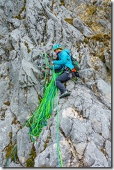 Ari belaying (Climbing Tannheimer Tal 2019)