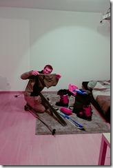 Craig getting ready to polish skis (Lindau)