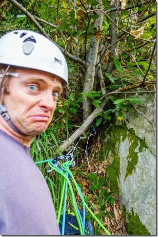 Cris is not so sure about his anchor (Climbing in Ticino Oct 2019)