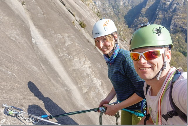 Leonie and Cris on the climb (Multipitch in Ticino Oct 2017)