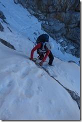 Leonie in the snow (Brenta Dolomites)
