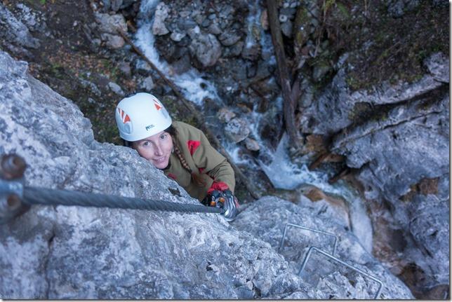 Leonie on the Rongg-Wasserfall klettersteig (Gargellen Klettersteige)