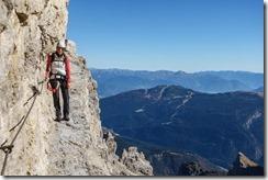 Leonie on the narrow path (Brenta Dolomites)