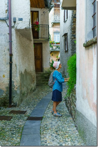 Mum checking out the old town in Falmenta (Lago Maggiore)