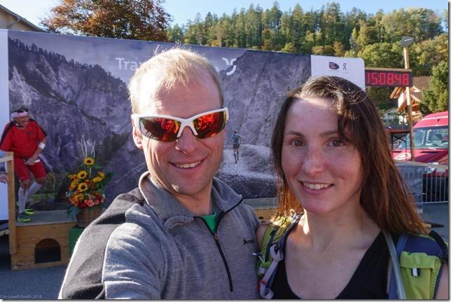 Cris and Leonie at the finish (Transruinaulta Marathon Oct 2018)
