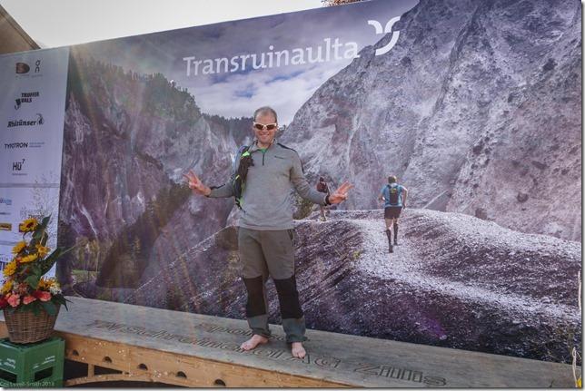 Cris at the finish (Transruinaulta Marathon Oct 2018)
