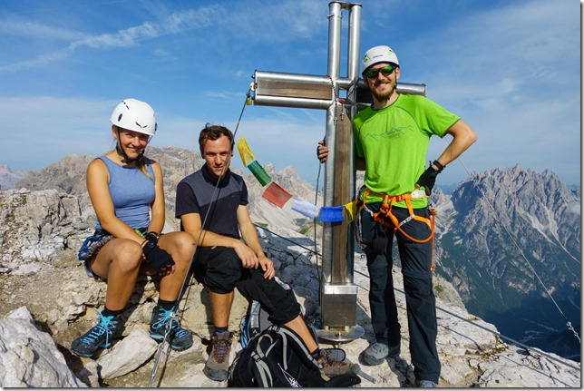 At the top of the Torre di Toblin (Dolomitten ohne Grenzen 2019)