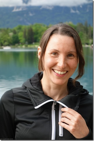 Leonie grinning at Lake Bled (Slovenia 2013)