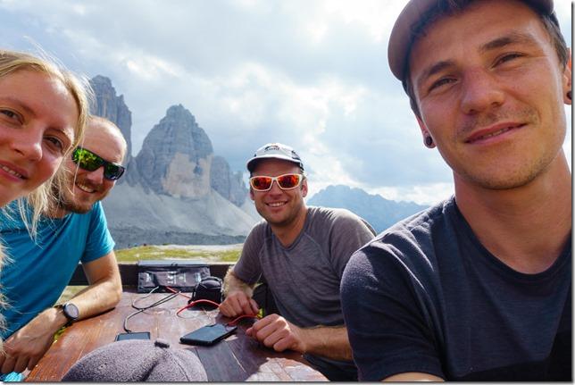 Sitting at the Drei Zinnen Huette (Dolomitten ohne Grenzen 2019)