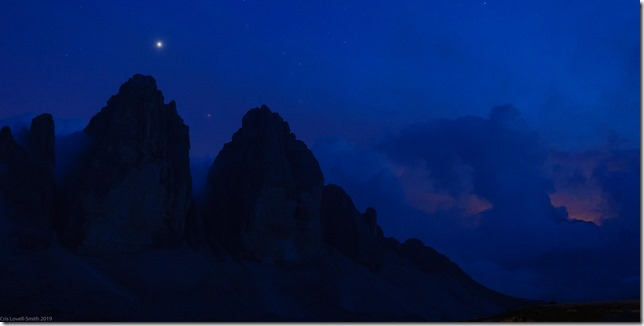 View of the Drei Zinnen by night (Dolomitten ohne Grenzen 2019)